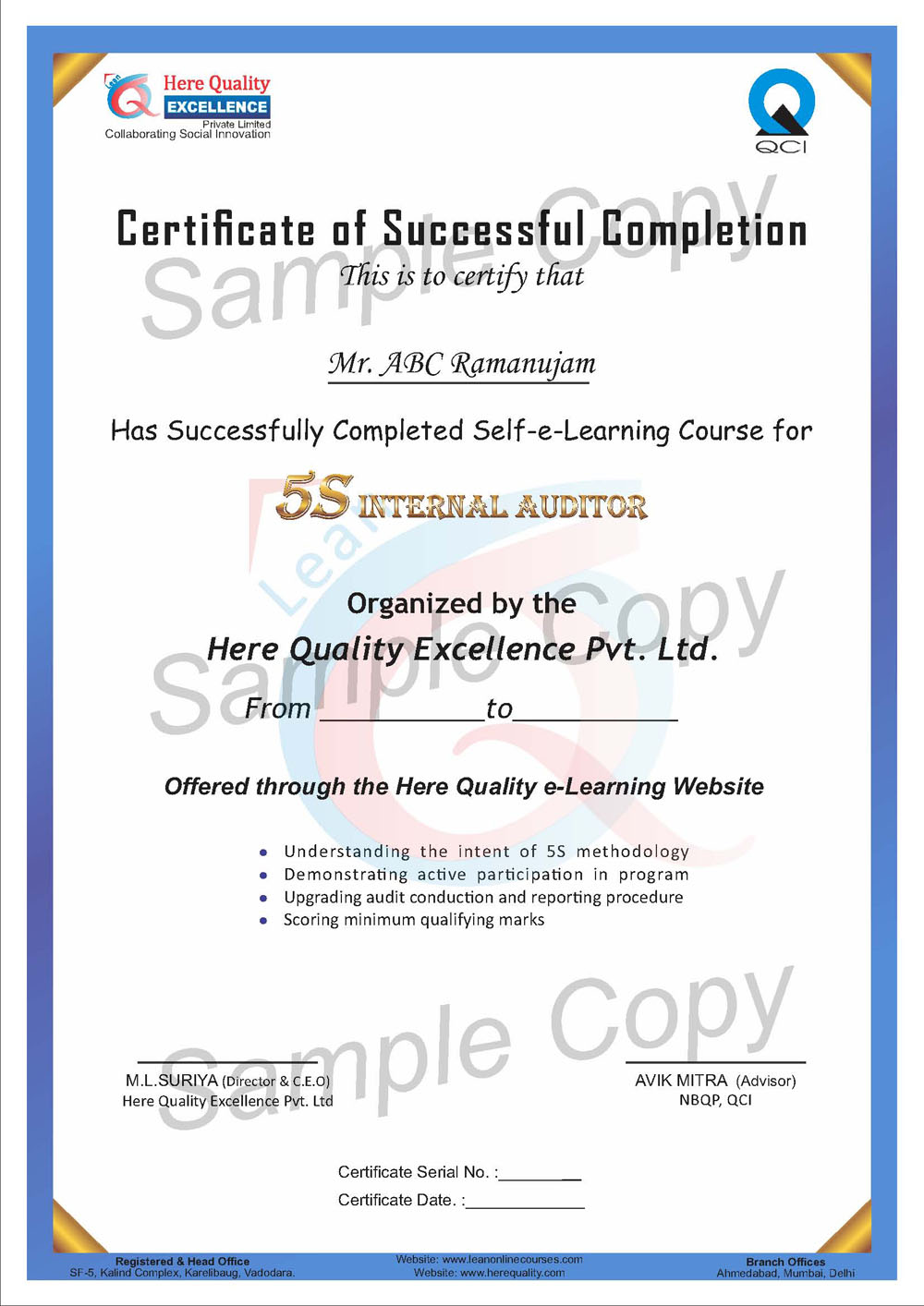 Lean online courses qci accredited courses sample qci certificate 1betcityfo Gallery